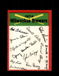 1974 MILWAUKEE BREWERS OPC TEAM CHECKLIST O-PEE-CHEE *2238