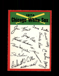 1974 CHICAGO WHITE SOX OPC TEAM CHECKLIST O-PEE-CHEE *1210