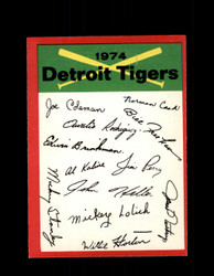 1974 DETROIT TIGERS OPC TEAM CHECKLIST O-PEE-CHEE *5457