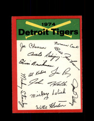 1974 DETROIT TIGERS OPC TEAM CHECKLIST O-PEE-CHEE *R5185