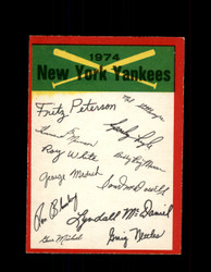 1974 NEW YORK YANKEES OPC TEAM CHECKLIST O-PEE-CHEE *R5546