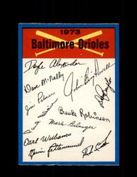 1973 BALTIMORE ORIOLES OPC TEAM CHECKLIST O-PEE-CHEE *G6998