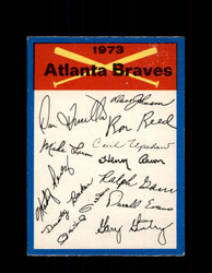 1973 ATLANTA BRAVES OPC TEAM CHECKLIST O-PEE-CHEE *G6999