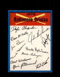 1973 BALTIMORE ORIOLES OPC TEAM CHECKLIST O-PEE-CHEE *G3029
