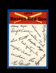 1973 BOSTON RED SOX OPC TEAM CHECKLIST O-PEE-CHEE *G3051