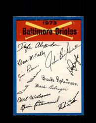 1973 BALTIMORE ORIOLES OPC TEAM CHECKLIST O-PEE-CHEE *G3069