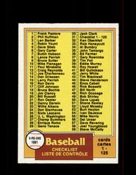 1981 CHECKLIST OPC #31 O-PEE-CHEE BASEBALL GRAY BACK *G3119