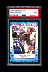 1989 KARL MALONE FLEER STICKER #1 JAZZ PSA 9