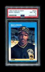 1987 BARRY BONDS FLEER GLOSSY #604 PIRATES PSA 8