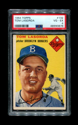 1954 TOM LASORDA TOPPS #132 ROOKIE DODGERS PSA 4