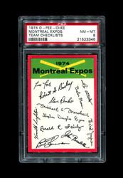 1974 MONTREAL EXPOS OPC TEAM O PEE CHEE CHECKLIST PSA 8