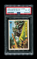 1965 A & BC BATTLE CARDS #4 GRENADE OF DEATH PSA 6