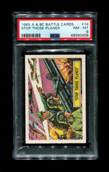 1965 A & BC BATTLE CARDS #14 STOP THOSE PLANES PSA 8