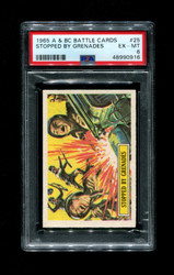 1965 A & BC BATTLE CARDS #25 STOPPED BY GRENADES PSA 6