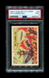 1965 A & BC BATTLE CARDS #40 THE FLAMING SEA PSA 9