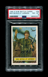 1965 A & BC BATTLE CARDS #58 RED DEVILS AT ARNHEM PSA 8