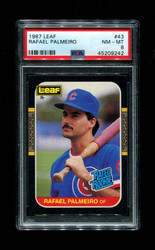 1987 RAFAEL PALMEIRO LEAF #43 RATED ROOKIE PSA 8
