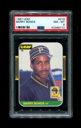 1987 BARRY BONDS LEAF #219 PIRATES PSA 8