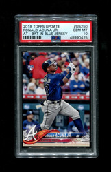 2018 RONALD ACUNA JR. TOPPS UPDATE #US250 AT BAT IN BLUE JERSEY PSA 10