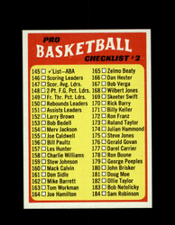 1971 CHECKLIST #2 TOPPS #145 BASKETBALL *6251