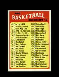 1971 CHECKLIST #2 TOPPS #145 BASKETBALL *6252