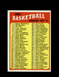 1971 CHECKLIST #1 TOPPS #144 BASKETBALL *6255