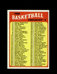 1971 CHECKLIST #1 TOPPS #144 BASKETBALL *6262