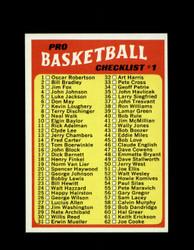 1971 CHECKLIST #1 TOPPS #144 BASKETBALL *6265