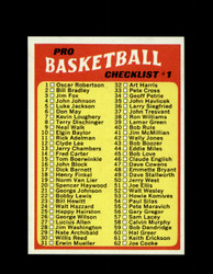 1971 CHECKLIST #1 TOPPS #144 BASKETBALL *6266