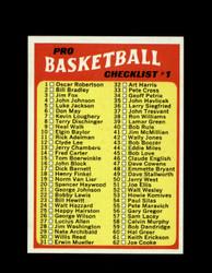 1971 CHECKLIST #1 TOPPS #144 BASKETBALL *6267
