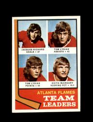 1974 ATLANTA FLAMES TOPPS #14 TEAM LEADERS *7815