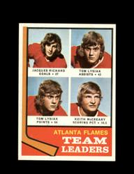 1974 ATLANTA FLAMES TOPPS #14 TEAM LEADERS *7811