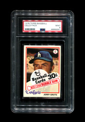 1978 CELLO PACK TOPPS BASEBALL JERRY GROTE-TOP PSA 9