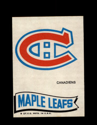 1973 TOPPS EMBLEM CANADIENS / MAPLE LEAFS *G2593