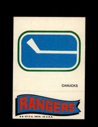1973 TOPPS EMBLEM CANUCKS / RANGERS *G2631