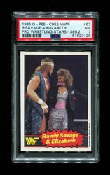 1985 RANDY SAVAGE & ELIZABETH OPC #63 WWF O-PEE-CHEE PSA 7