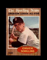 1962 CHUCK SCHILLING TOPPS #467 A.L. ALL STAR *G4041