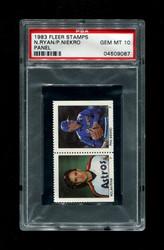 1983 NOLAN RYAN FLEER STAMPS PANEL P. NIEKRO PSA 10
