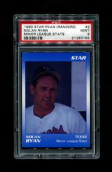 1990 NOLAN RYAN STAR (RANGERS) #2 MINOR LEAGUE STATS PSA 9