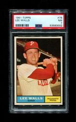 1961 LEE WALLS TOPPS #78 PHILLIES PSA 7