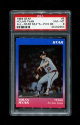 1989 NOLAN RYAN STAR #5 ALL STAR STATS PINK BACK PSA 8