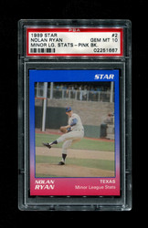 1989 NOLAN RYAN STAR #2 MINOR LEAGUE STATS PINK BACK PSA 10