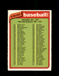 1980 CHECKLIST 251-374 OPC #183 O-PEE-CHEE BASEBALL *G4856