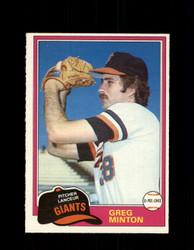 1981 GREG MINTON OPC #111 O-PEE-CHEE GIANTS *G4994