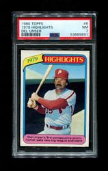 1980 HIGHLIGHTS 1979 TOPPS #6 DEL UNSER PSA 7