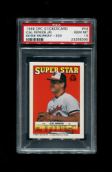 1988 CAL RIPKEN OPC STICKERCARD #44 EDDIE MURRAY #233 PSA 10