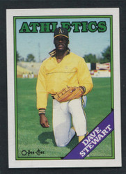 1988 DAVE STEWART OPC #353 O PEE CHEE ATHLETICS BLACK ONLY BACK #2070