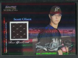 2004 SCOTT OLSEN BOWMAN STERLING #/25 BLACK REFRACTOR GU AUTO #3341