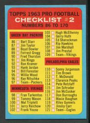 1963 FOOTBALL TOPPS #170 CHECKLIST EX #3563