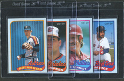 1989 NOLAN RYAN CAL RIPKEN MIKE SCHMIDT JIM RICE OPC BOX BOTTOM SET/4
